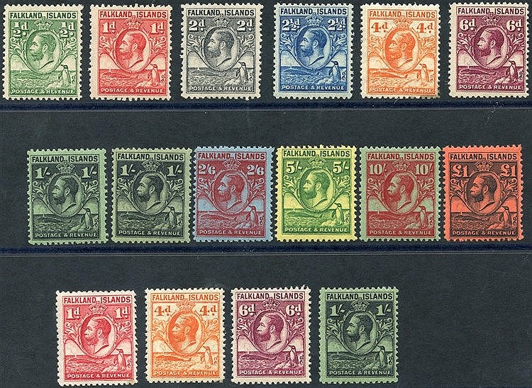 1929-37 Whale & Penguins set + Line Perfs, SG.116/126 + 'a' numbe