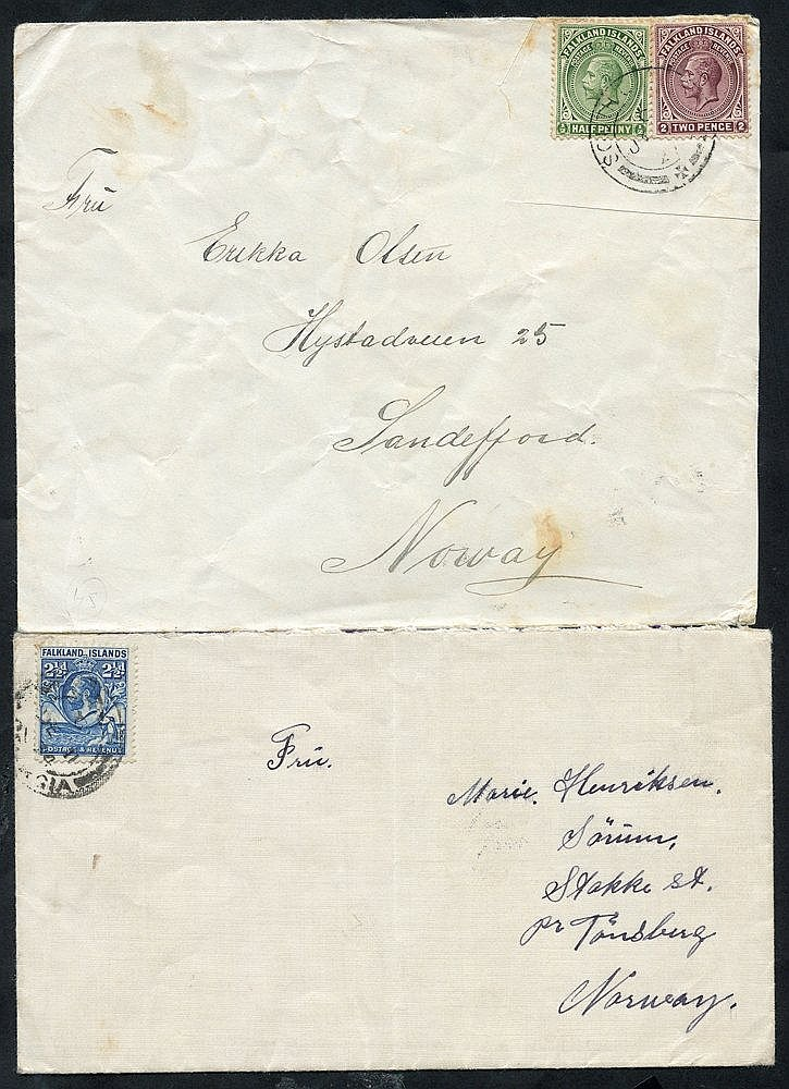 20thC pair South Georgia, Grytviken Whaling Station covers addres