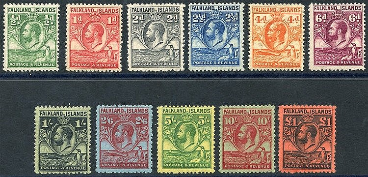 1929-37 Whale & Penguins set, fine M (£1 has slight gum crease),