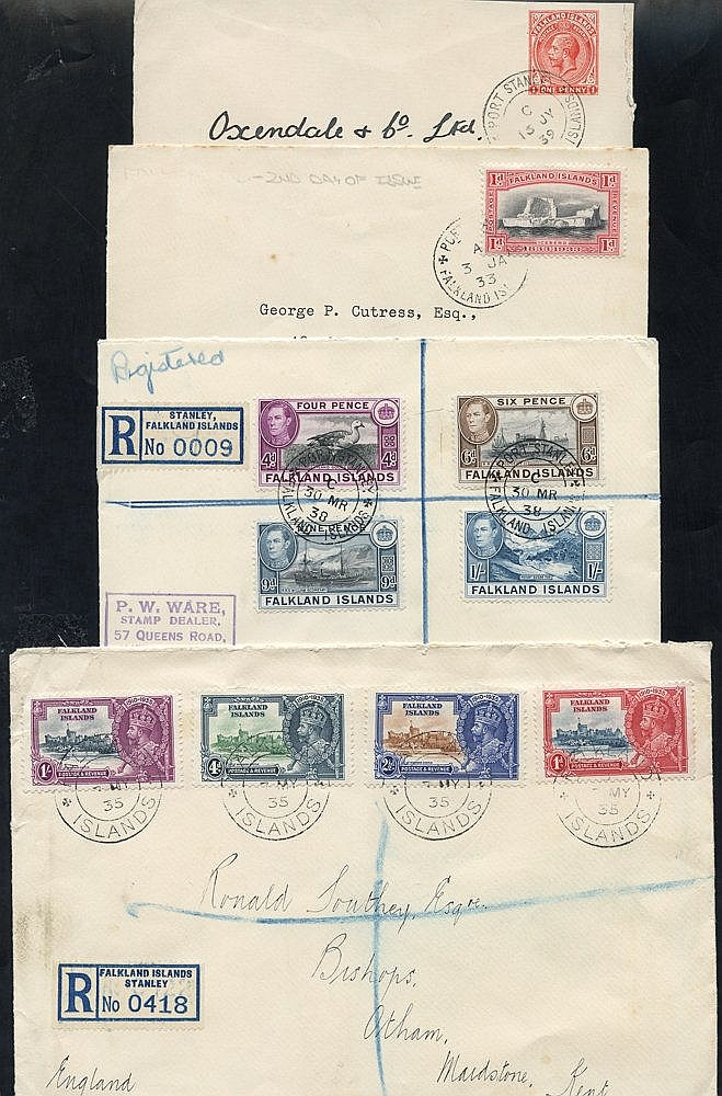 1933 - later range of covers & cards incl. 1d Centenary cover use