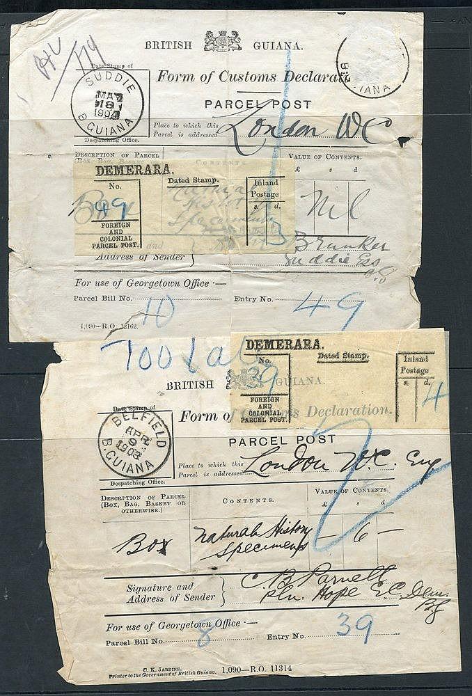 1903-04 Parcel Post Customs Declaration labels, both for natural