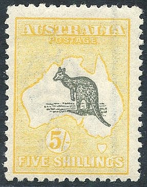 1915-27 5s grey & pale yellow, fresh M, SG.42c. (1) Cat. £275.
