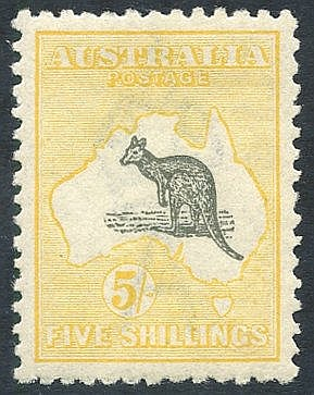 1915-27 5s grey & yellow, fresh M, SG.42. (1) cat. £275