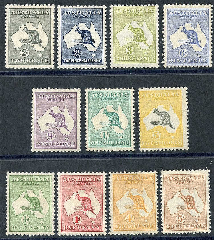 1915-27 set of one of each to 1s, also 5s grey & deep yellow (cen