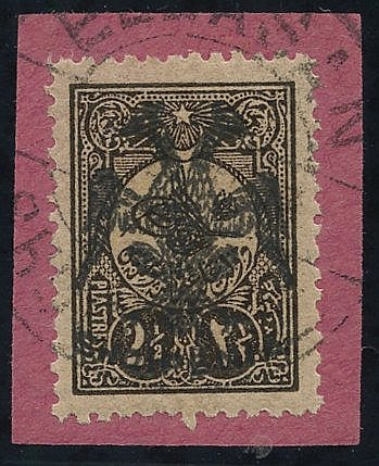 1913 2½pi brown, tied to piece by fine double ring c.d.s, Mi.9, s