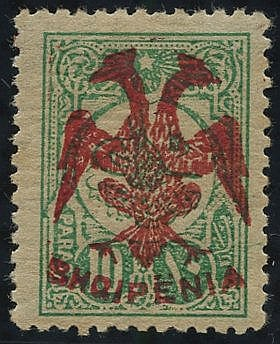 1913 10pa green with red overprint, fresh M (appears UM), signed
