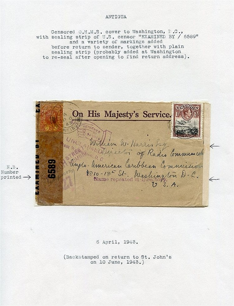 1939-45 WWII fine representation of censor marks on Antigua cover