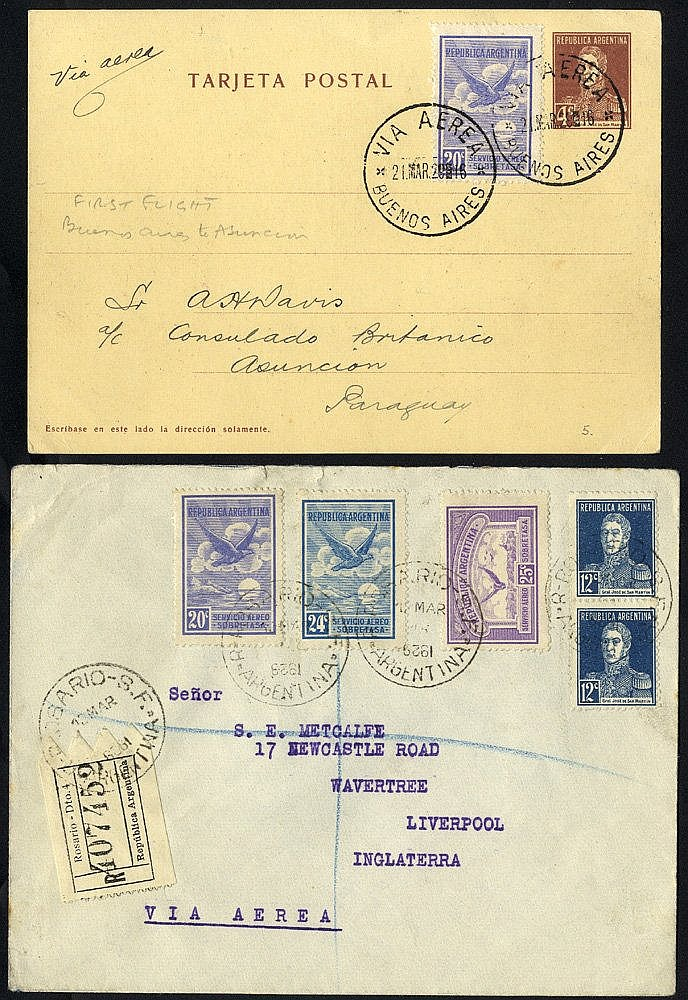 1928-29 reg covers (6) with some foxing incl. Rosario to Liverpoo