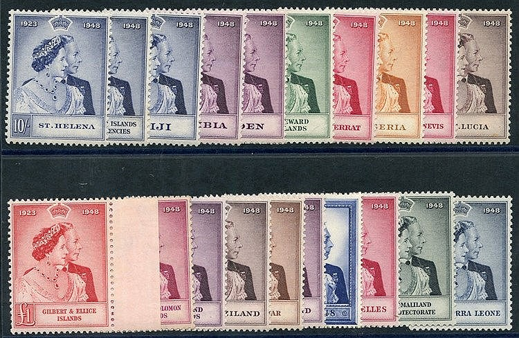 1948-49 Wedding high vals (20) different incl. Aden, GB, Falkland