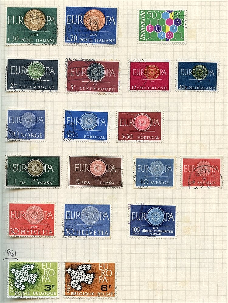 EUROPAS 1956-92 collection in album of 1565 different used incl.