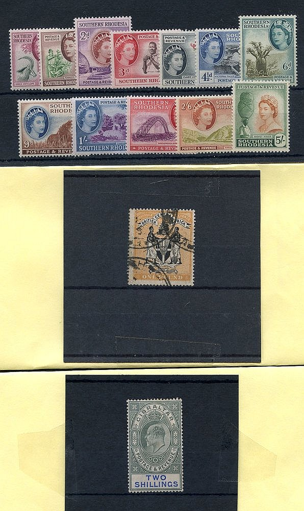 BRITISH COMMONWEALTH selection of old auction lots (on original a