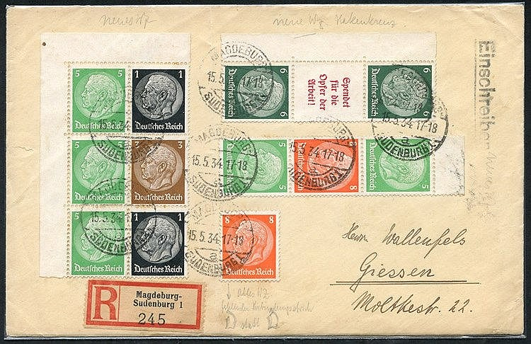 1934 April/June Hindenburg combinations with Mi.S124 UM, W61, W62