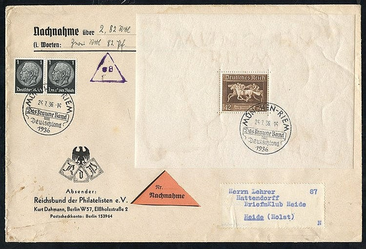 1936 Brown Ribbon of Germany M/Sheet M, another U on cover, two f