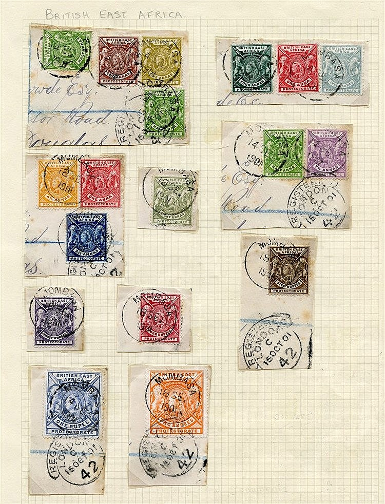 1896-1901 CCA set excl. 1r & 2r (16 stamps used on 8 pieces), tie