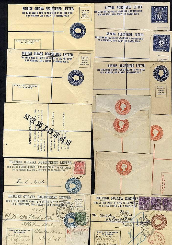 1882-1972 postal stationery range of reg envelopes incl. three us