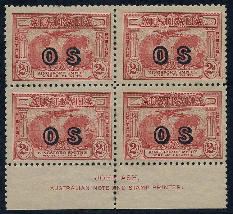 1931 (Mar) Kingsford Smith 2d rose-red ovptd 'OS' block of four w