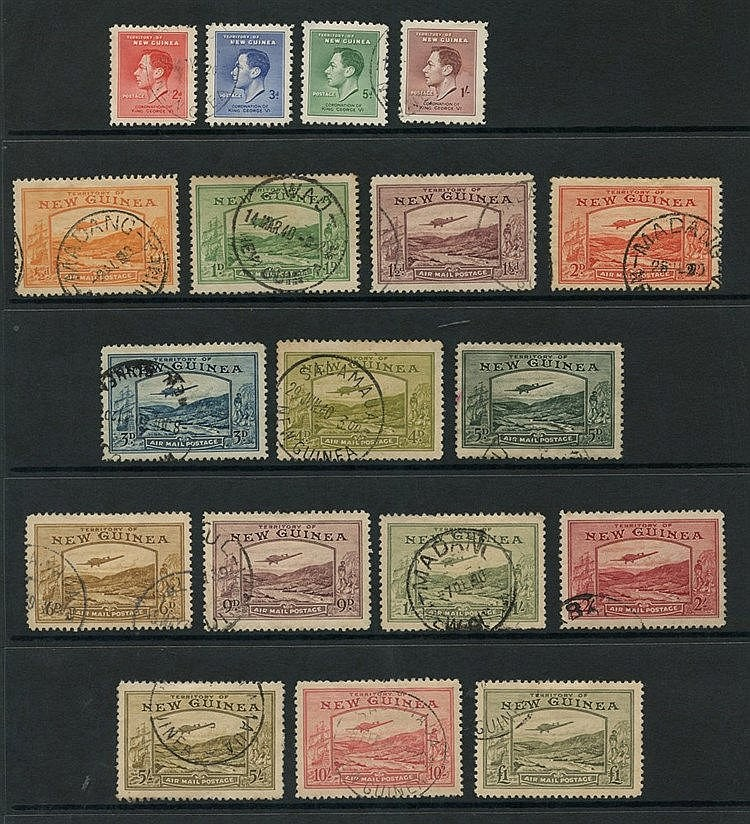 NEW GUINEA 1937-39 set complete, faults incl. 5d crayon mark, 10s