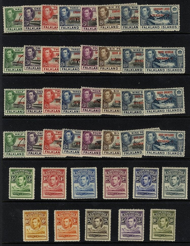 BRITISH COMMONWEALTH M ranges on leaves from Basutoland 1938 set,