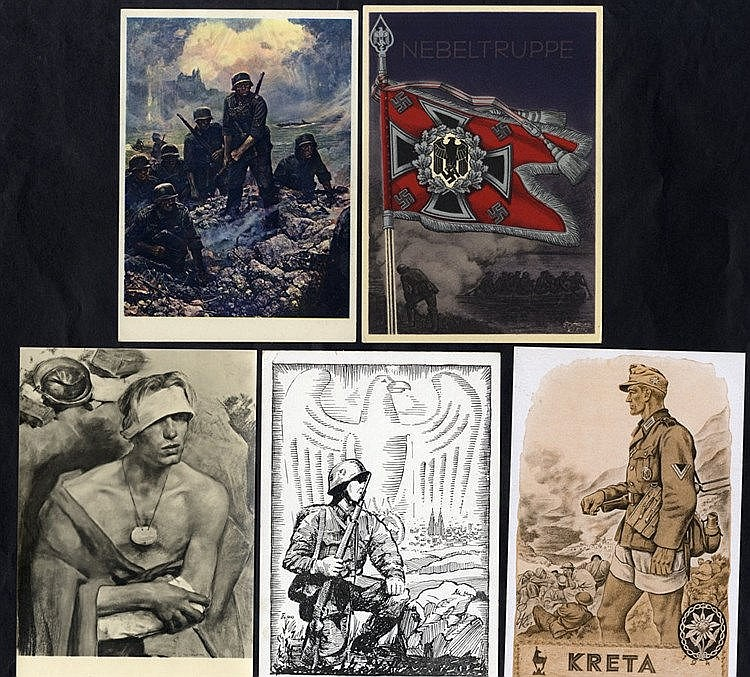 WWII propaganda cards & illustrated feldpost cards - a group of 6