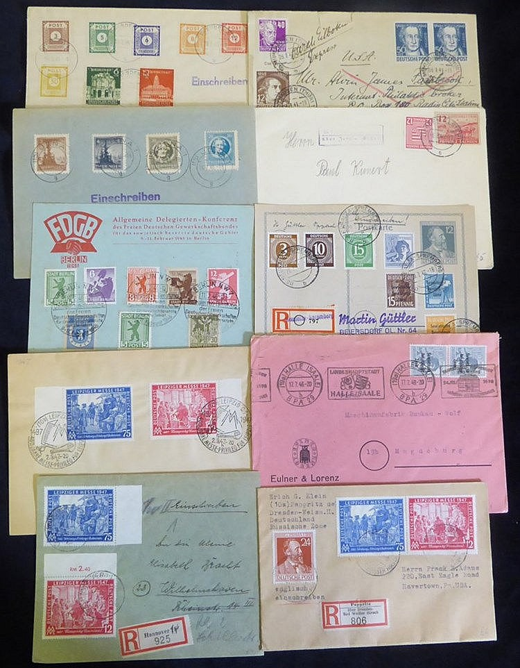 Allied Occupation Soviet Zone 1940's covers & cards incl. provinc