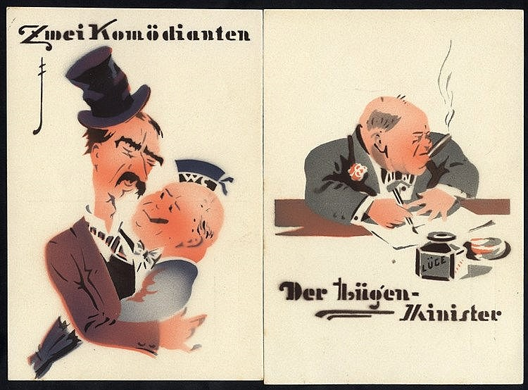 WWII anti British cards depicting Chamberlain & Hitler 'The Two C