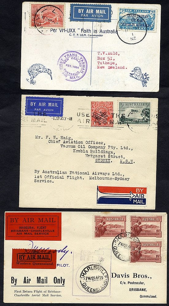 1929-33 first flight covers (3) comprising 1929 QANTAS Charlevill