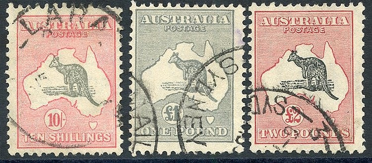 1931-3 C of A 10s grey & pink, £1 gey (small purple mark on rever