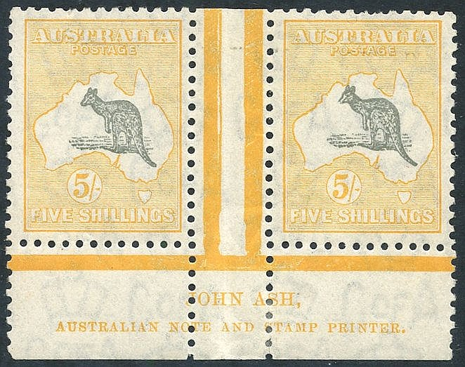 1931-36 C of A 5s grey & yellow Ash imprint pair, fine M (some mi