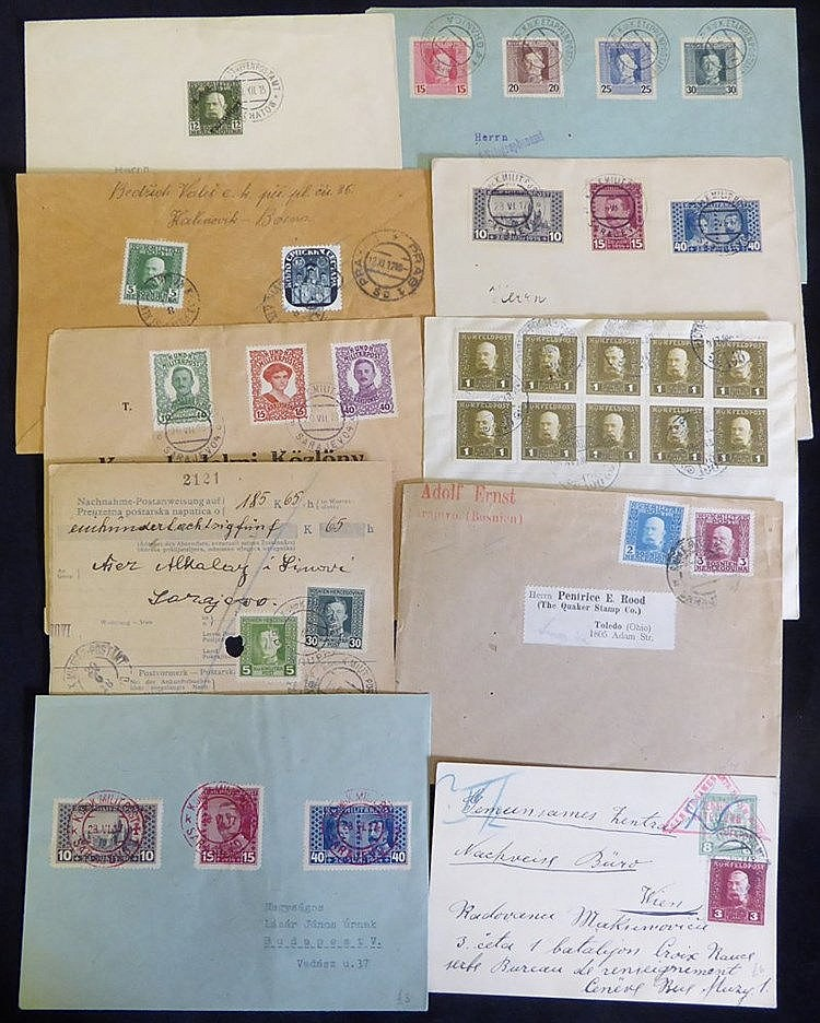 Military mail - fine group of stamped covers with Emperors Franz