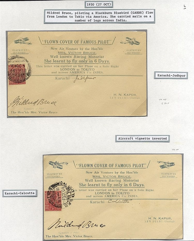 1930 Oct 27th Mildred Bruce world flight special covers (2) incl.