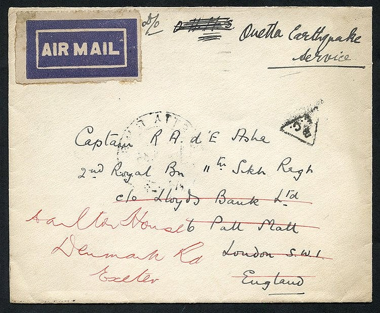 1936 Quetta Earthquake cover to London re-directed to Exeter, no