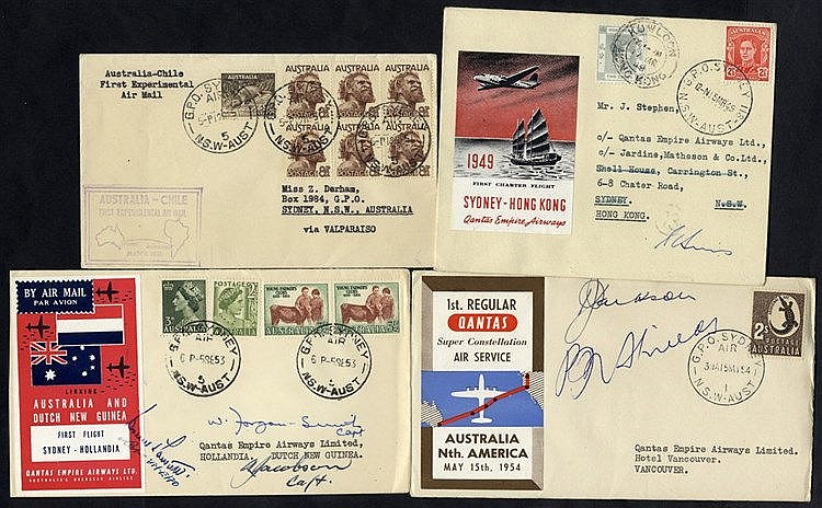 1949-53 first flight covers (4) 1949 Qantas Charter flight Sydney