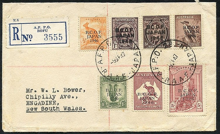 B.C.O.F JAPAN 1947 (Sep) reg. cover to NSW - B.C.O.F Japan o/p se