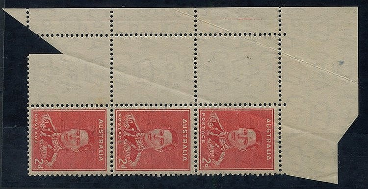 1937-49 Perf 15 x 14 2d scarlet top left corner block of six (2x3