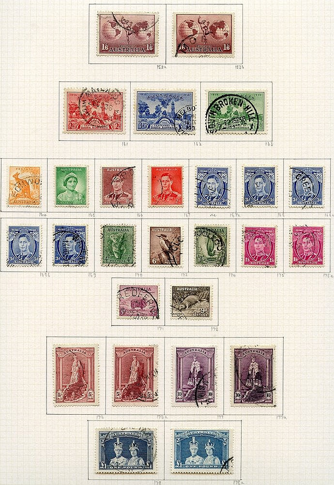 1937-52 collection U on philatelic leaves with all SG listed Dies