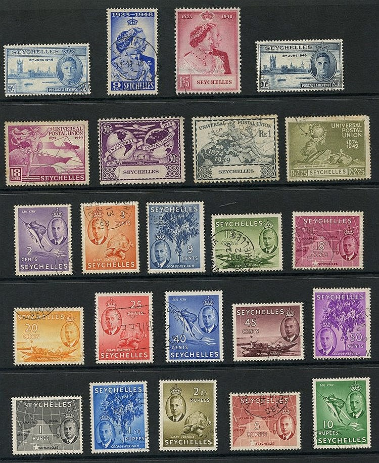 SEYCHELLES 1937-52 complete, Silver Wedding 5r (crayon mark), 1st