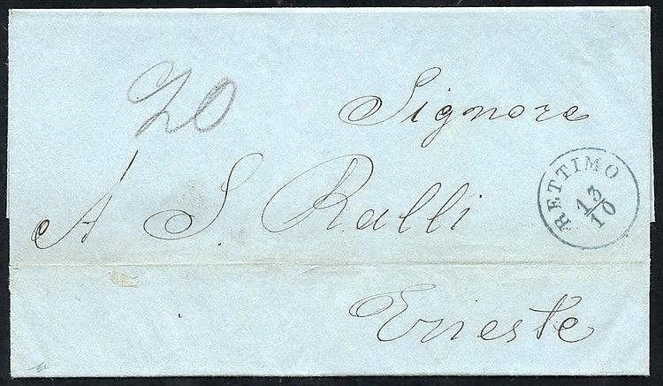 CRETE (Austrian P.O) 1862 entire letter to Trieste struck with su