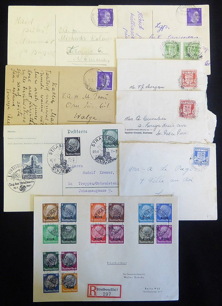 GUERNSEY 'arms' frankings items incl. ½d, 2d (2) & 2½d stamps, tr