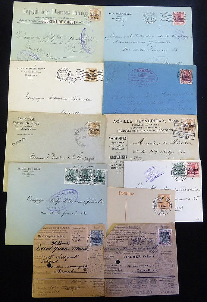 BELGIUM group of civilian mail with Germania frankings, many with