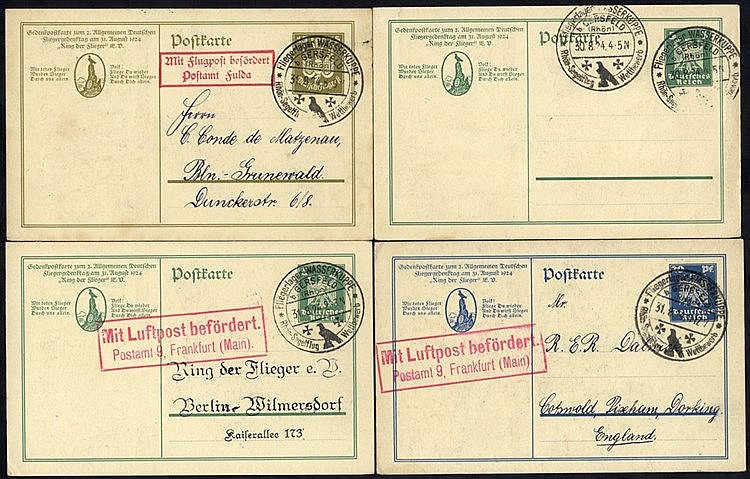 1924 Gersfeld Glider meeting official 5pfg card from the first da