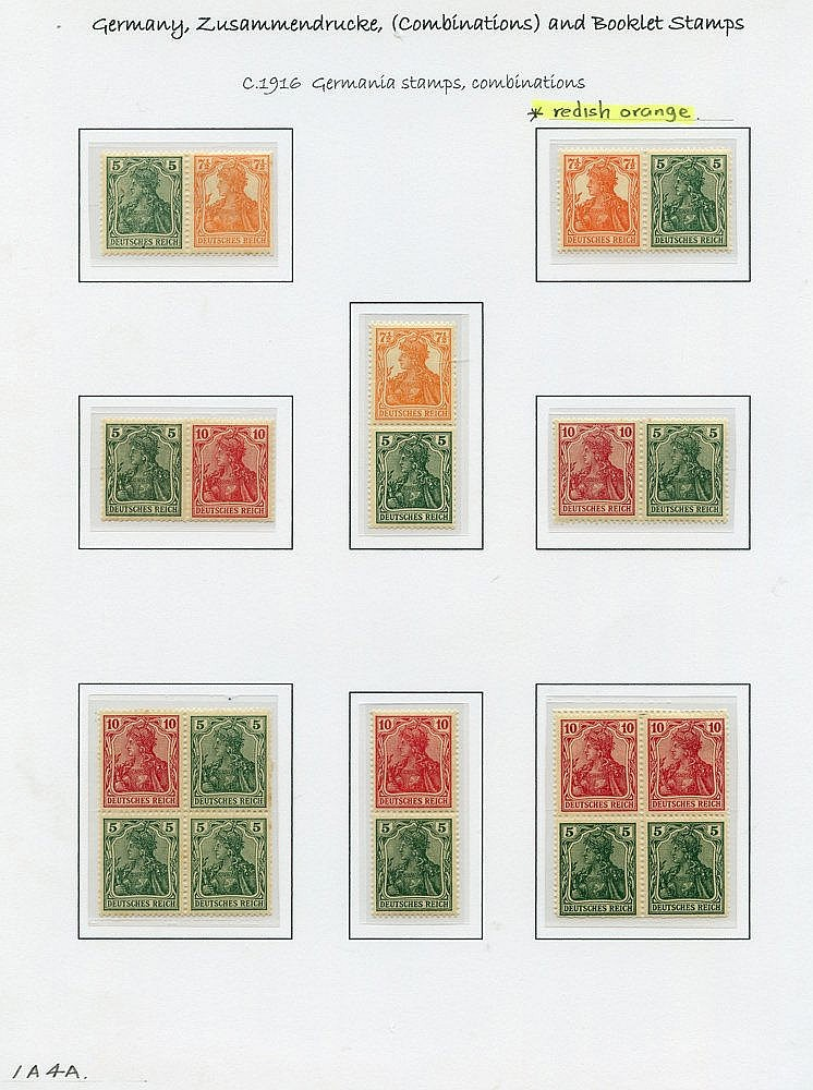 1916-17 Germania combinations with vertical pairs of 5pf + 10pf w