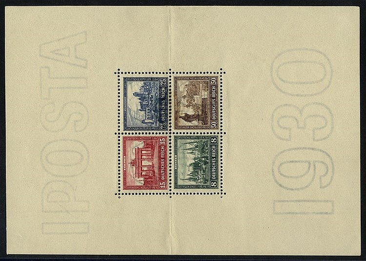 1930 IPOSTA M/Sheet, UM (horizontal fold splitting perfs), SG.MS4