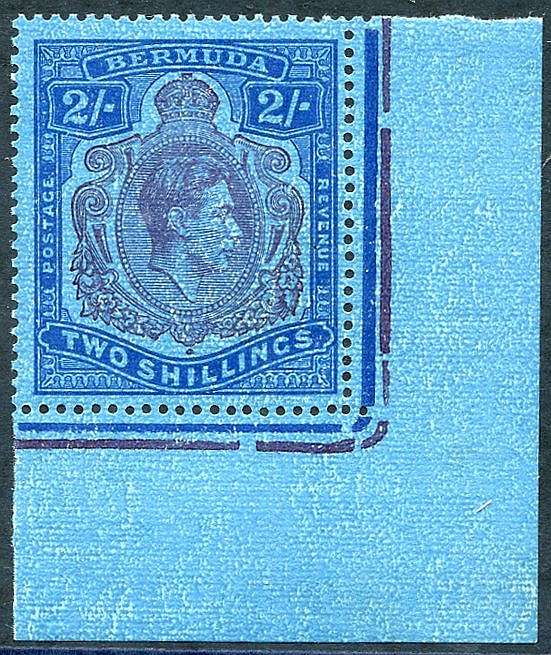 1942 2s purple & blue/deep blue, lower right corner marginal M ex