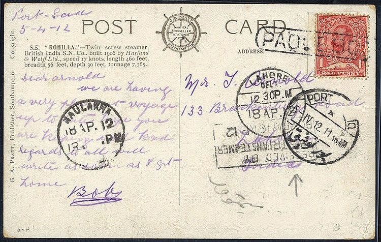 1912 PPC of HM Transport Romilla addressed to India, 1d GB tied b