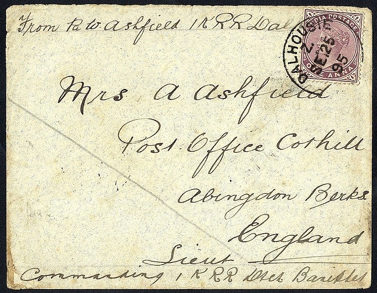 1895 Campaign cover, franked 1a, tied Dalhousie c.d.s. to England