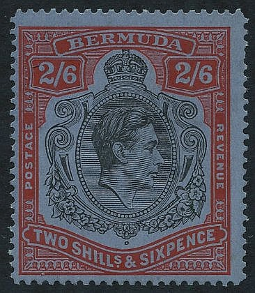 1938-53 Perf 14.2 Line 2/6d black & red on grey-blue, centred to