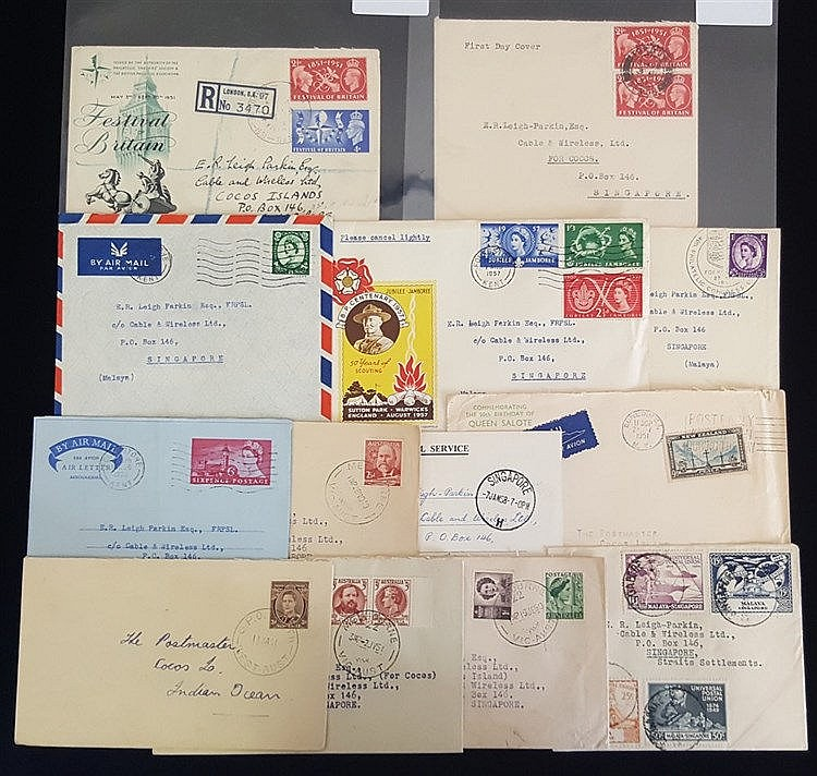 1940-50's covers & card from Malaya, Australia & GB, all incoming