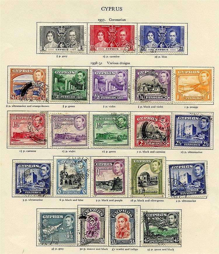 CYPRUS (30) & DOMINICA (47) 1937-51 - both complete. Cat. £355