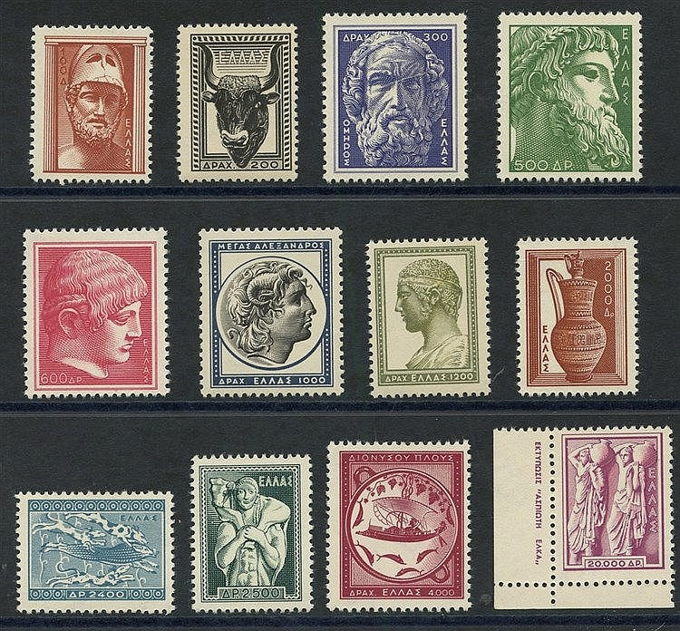 1954 Ancient Greek Art set of 12 values complete UM, the key 20,0