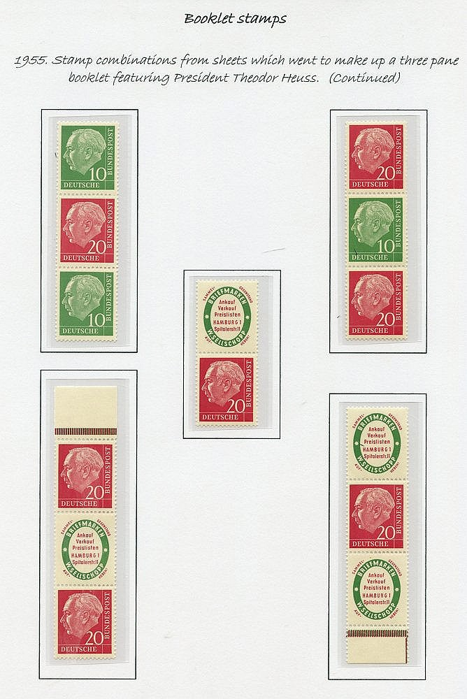 1955 President Heuss combinations - a most impressive collection